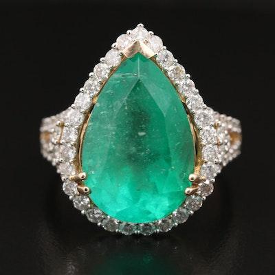 14K 9.59 CT Emerald and 1.13 CTW Diamond Teardrop Ring