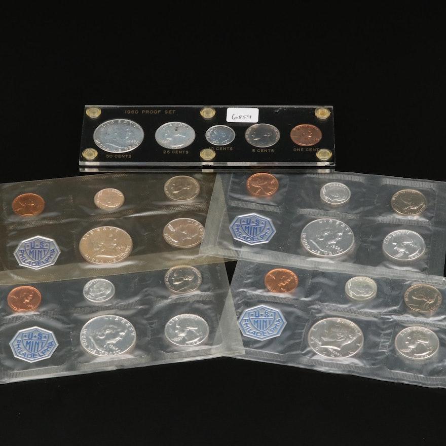 Five Proof U.S. Mint Sets, 1960–1964