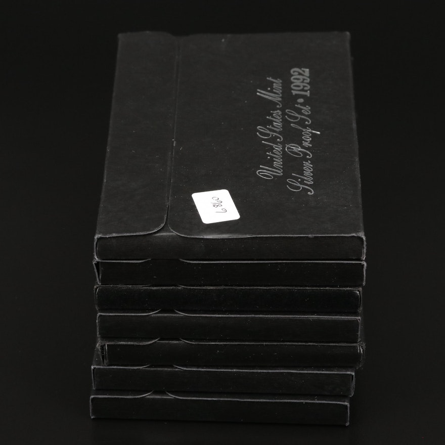 Seven U.S. Mint Silver Proof Sets, 1992–1998