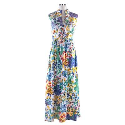Neiman-Marcus Floral Print Sleeveless Maxi Dress