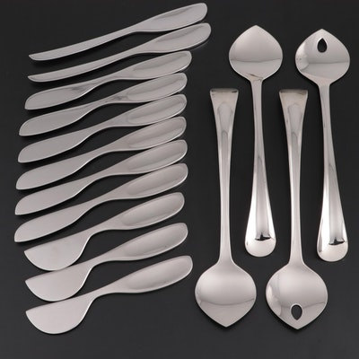 "Georg Jensen ""Alfredo"" Cheese Knives and ""Duo"" Salad Servers"