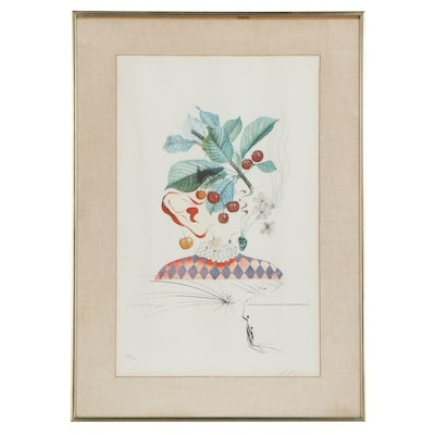 """Salvador Dalí Etching and Photolithograph """"Cerises Pierrot (Cherries), 1969"""