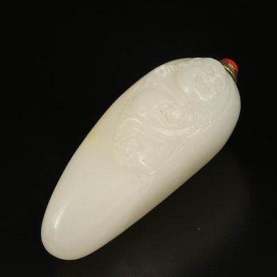 Chinese Chalcedony Laughing Buddha Snuff Bottle with Red Coral Stopper