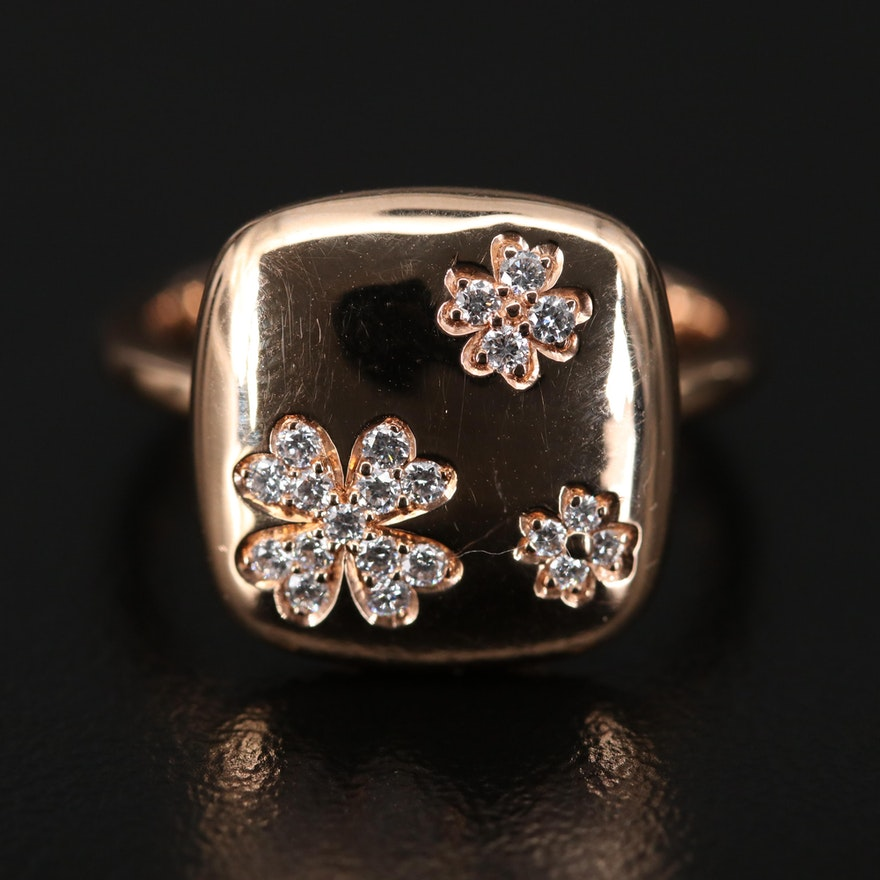 18K Rose Gold Diamond Four Leaf Clover Ring