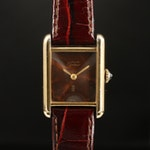 "Vintage Cartier ""Tank Vermeil"" Wood Dial Stem Wind Wristwatch"