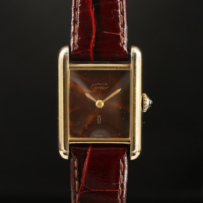 "Vintage Cartier ""Tank Vermeil"" Wood Dial Stem Wind Wristwatch"