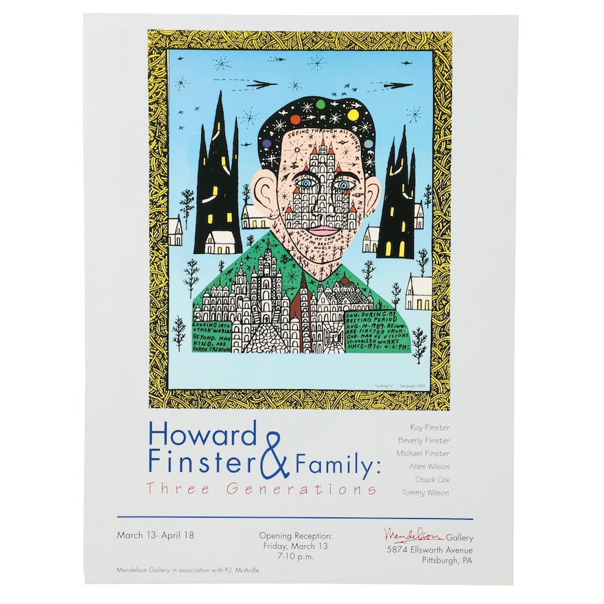 "Offset Lithograph Exhibition Poster after Howard Finster ""Looking In"""