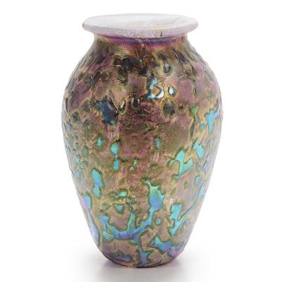"Robert Eickholt ""Tide Pool"" Handblown Iridescent Art Glass Vase"