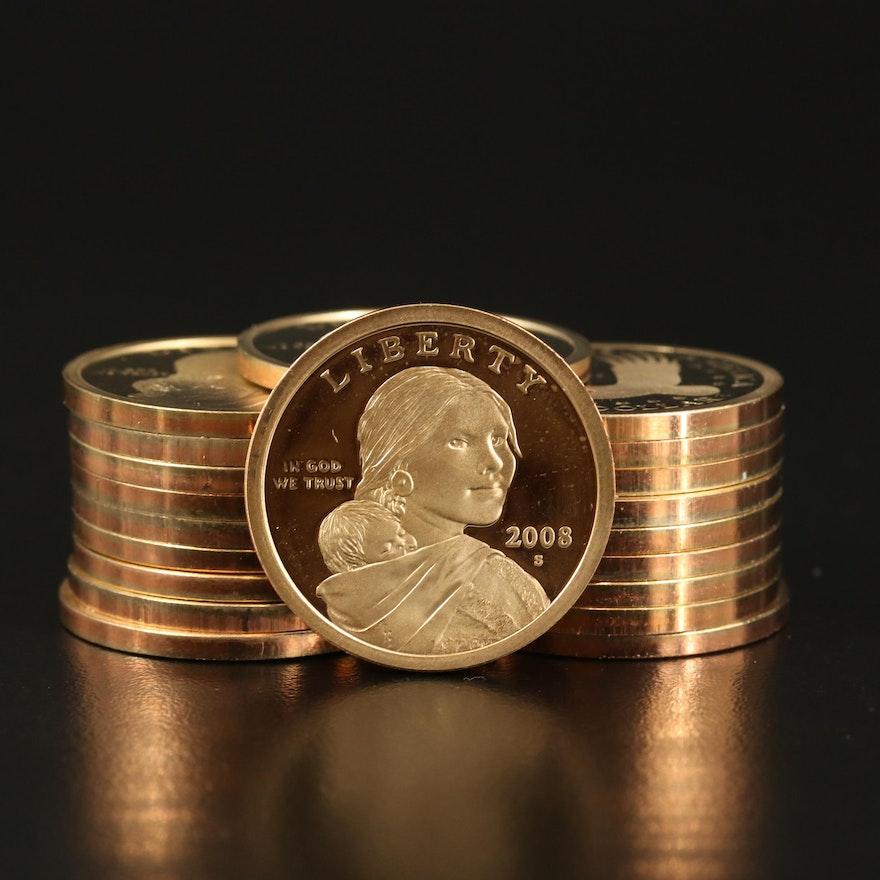 Twenty 2008-S Proof Sacagawea Dollars