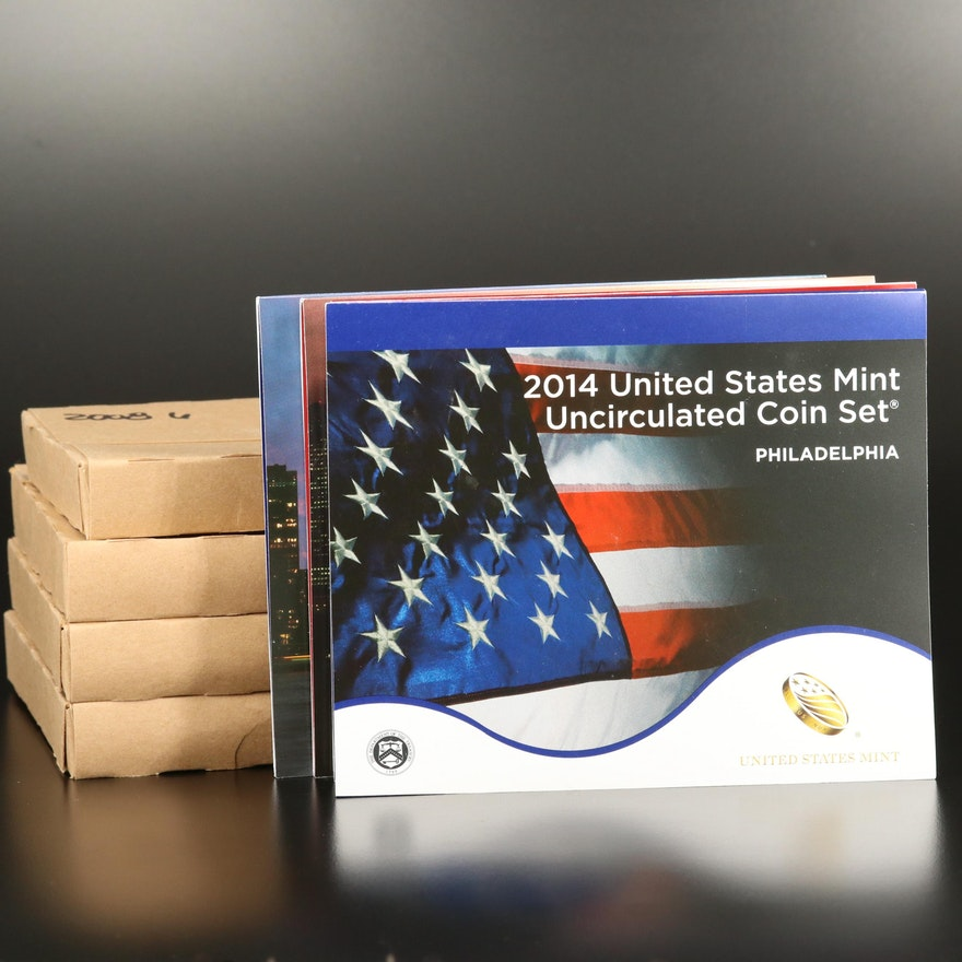 Six U.S. Mint Uncirculated Sets, 2008–2014