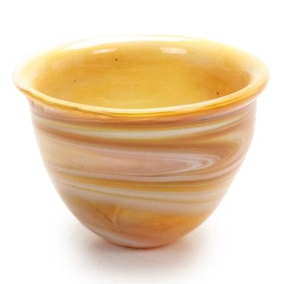Robert Eickholt Handblown Swirl Art Glass Bowl