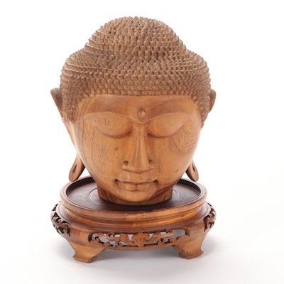Indonesian Carved Wood Head of the Buddha with Stand