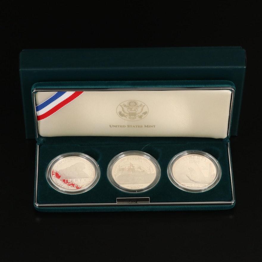 1994 U.S. Veterans Commemorative Silver Dollars 3-Coin U.S. Mint Set