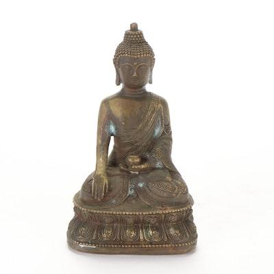 Chinese Brass Buddha Shakyamuni, 20th Century