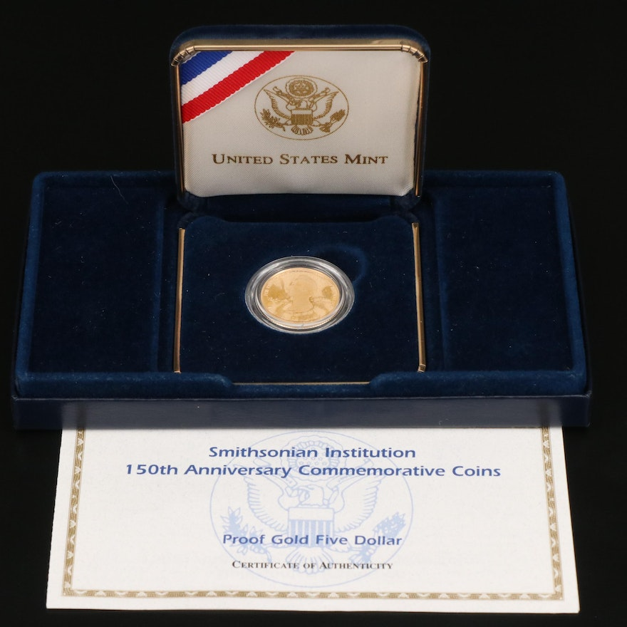 Smithsonian Institution 150th Anniversary Commemorative Proof Gold $5 Coin