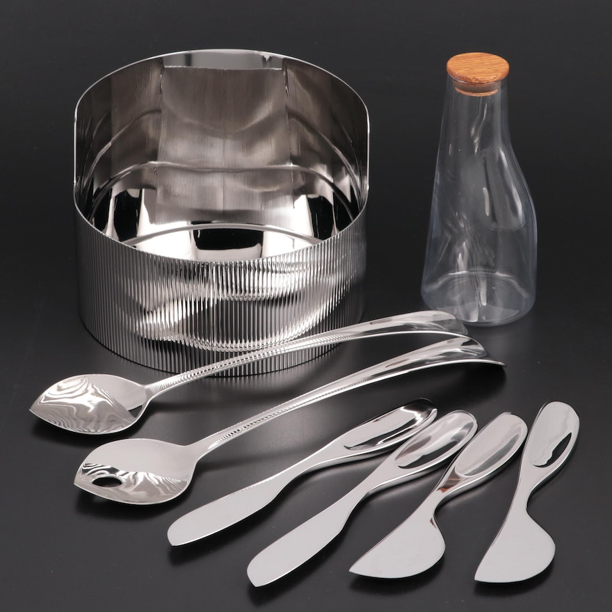 "Georg Jensen ""Urkiola"" Bowl, ""Barbry"" Carafe, Salad Servers and Cheese Knives"