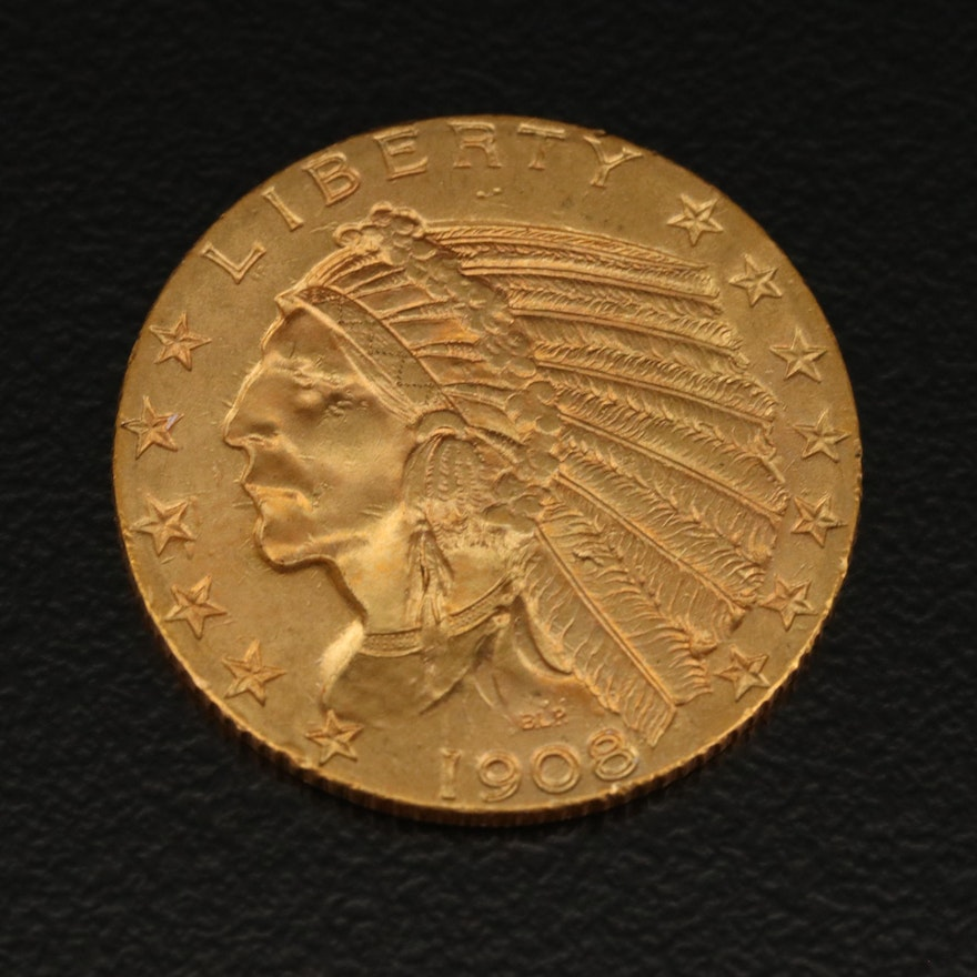 1908 Indian Head $5.00 Gold Half Eagle