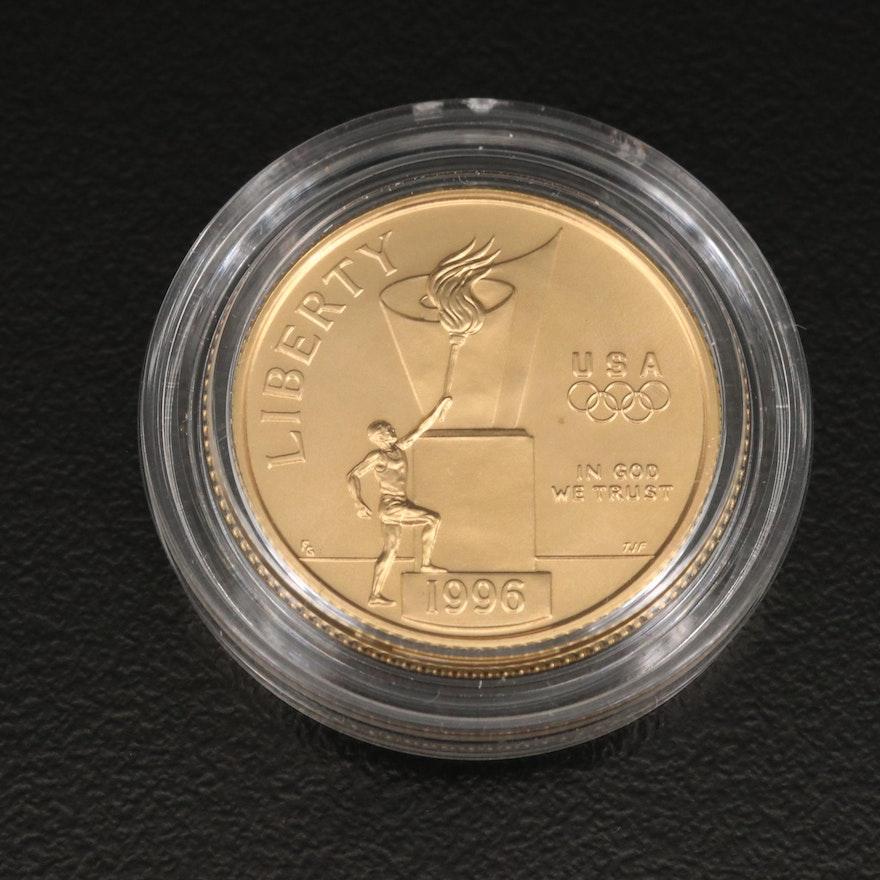 1996 Atlanta Olympics Cauldron Proof $5 Gold Coin