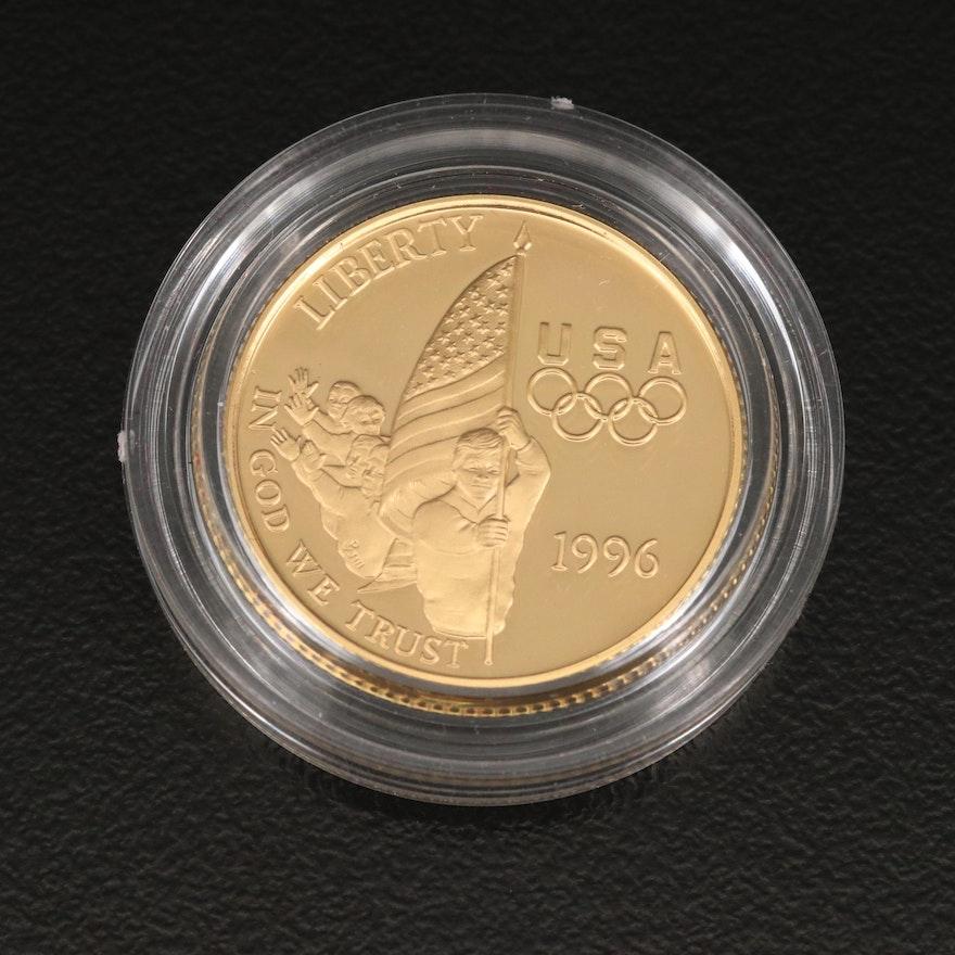 1996 Atlanta Olympics Flag Bearer Proof $5 Gold Coin