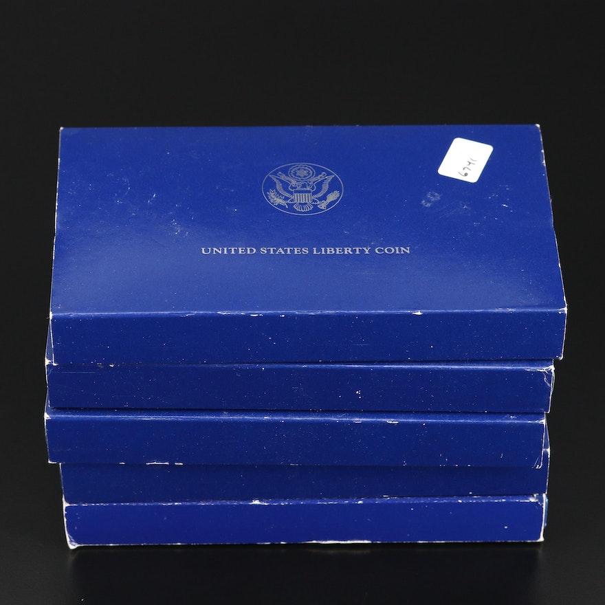 Five 1986 Statue of Liberty Proof Commemorative Silver Dollars