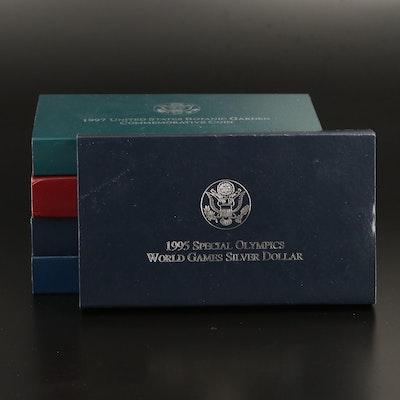 Five Commemorative Proof U.S. Silver Dollars