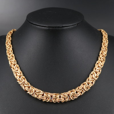 14K Graduated Byzantine Chain Necklace