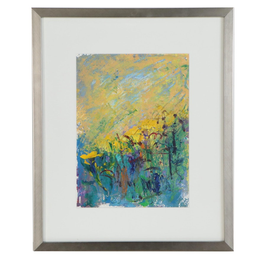 Trish Weeks Abstract Palette Knife Oil Painting