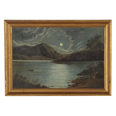 Landscape Oil Painting of Moonlit Lake, Mid-19th Century