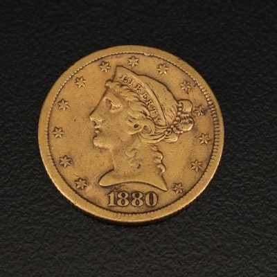1880-S Liberty Head Five Dollar Gold Half Eagle Coin