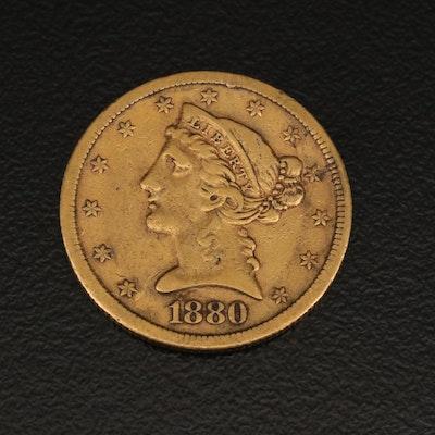 1880-S Liberty Head Five Dollar Gold Half Eagle Coin