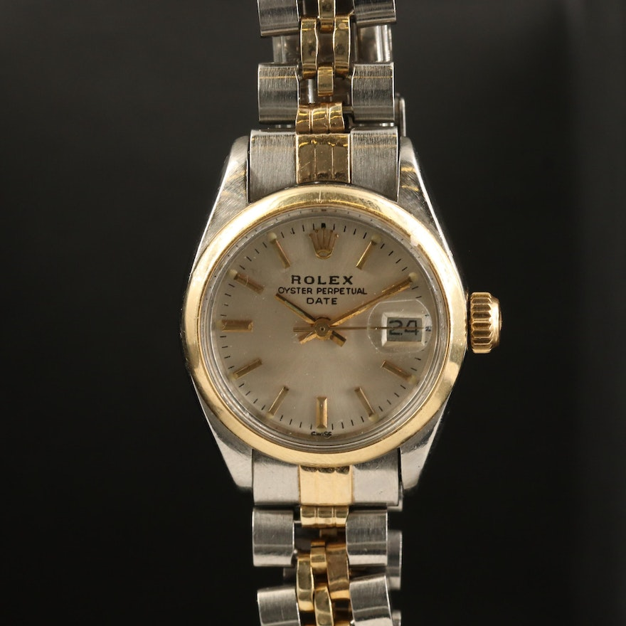 1979 Rolex Oyster Perpetual Date 14K Gold and Stainless Steel Wristwatch