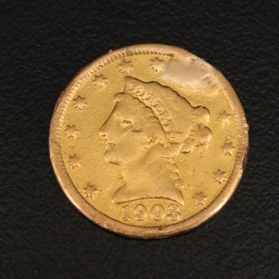 Low Mintage 1903 Liberty Head $2.50 Gold Quarter Eagle
