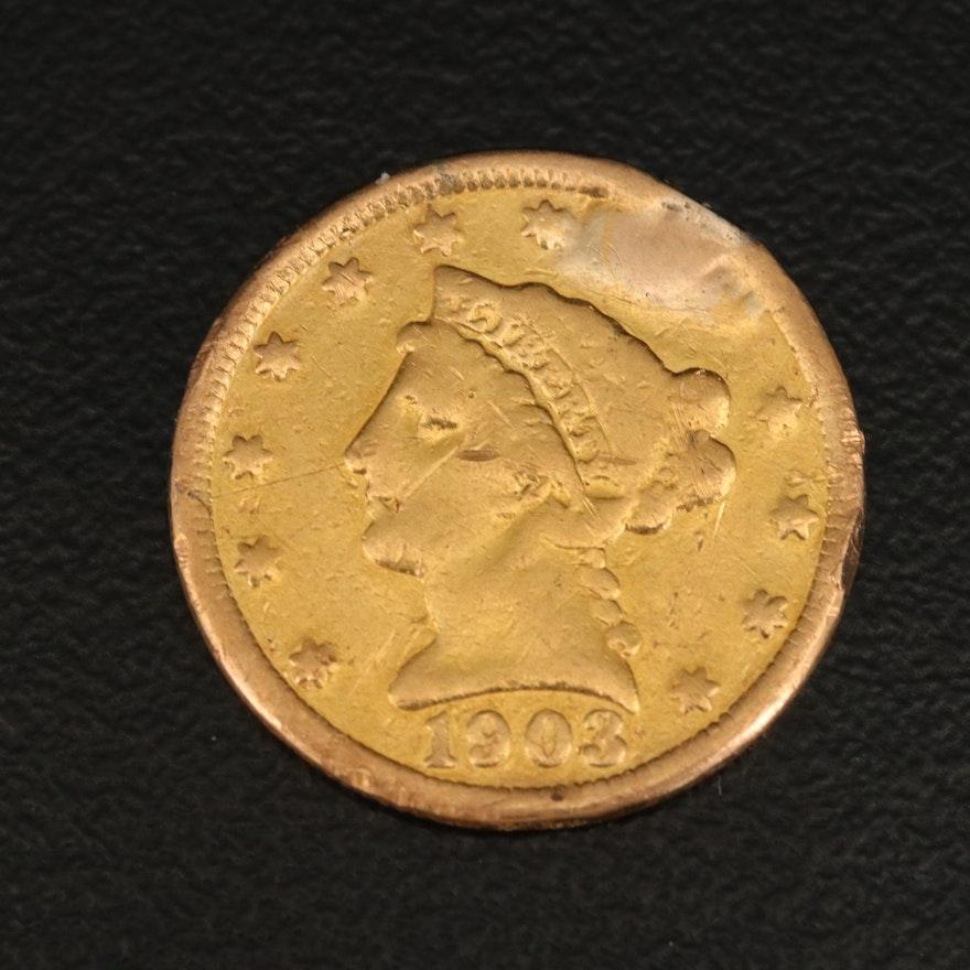 Low Mintage 1903 Liberty Head $2.50 Gold Quarter Eagle