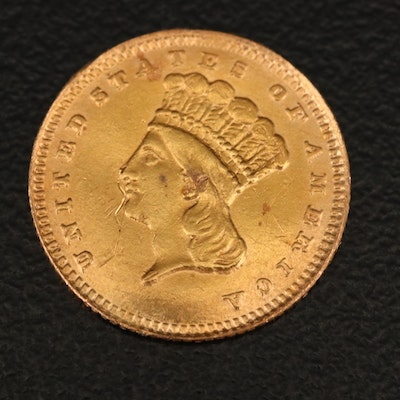 1868 Indian Princess Head $1 Gold Coin