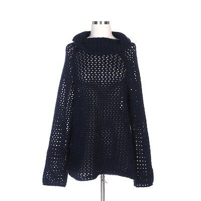 Marc Jacobs Navy Blue Mesh-Stitch Knit Pullover Sweater