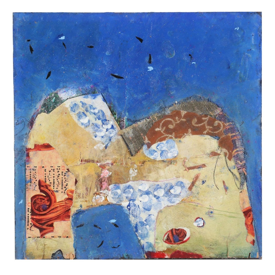 Janice Schuler Abstract Mixed Media Painting, 2018