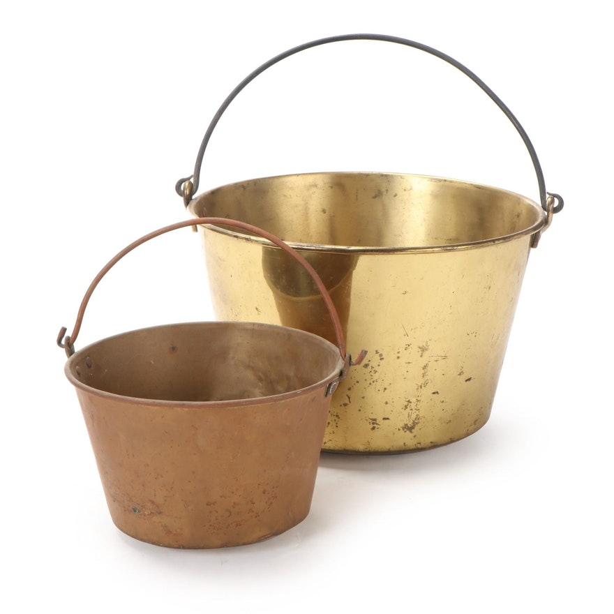 Brass and Iron Bail Handled Buckets 1870