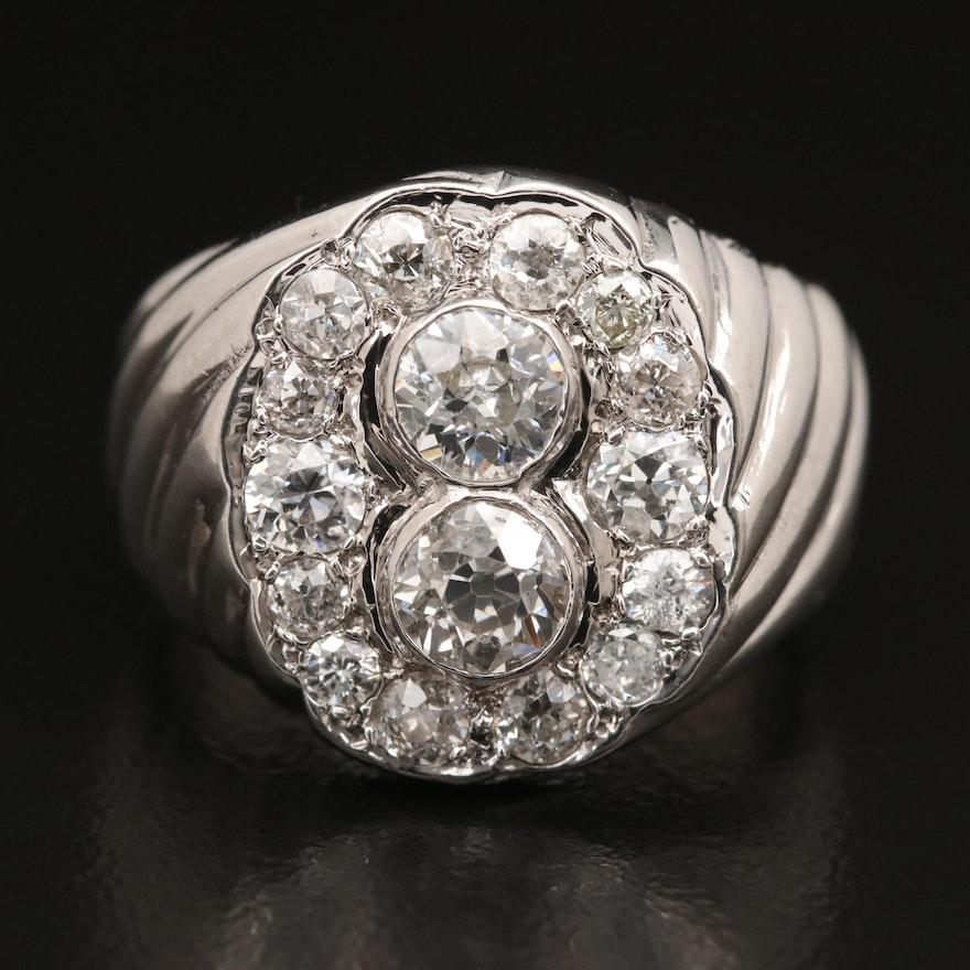 14K 1.79 CTW Diamond Ring with Platinum Accents