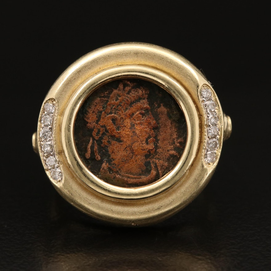 14K Diamond Ring with Ancient Roman Imperial AE4 Coin Constantine ca 240 A.D.