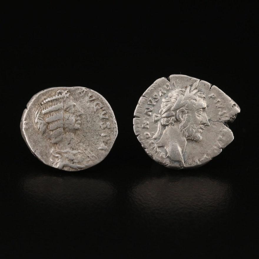 Two Ancient Roman Imperial Silver Denarius Coins
