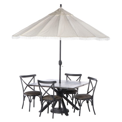Metal and Resin Wicker Patio Dining Set with 9-Ft. Umbrella