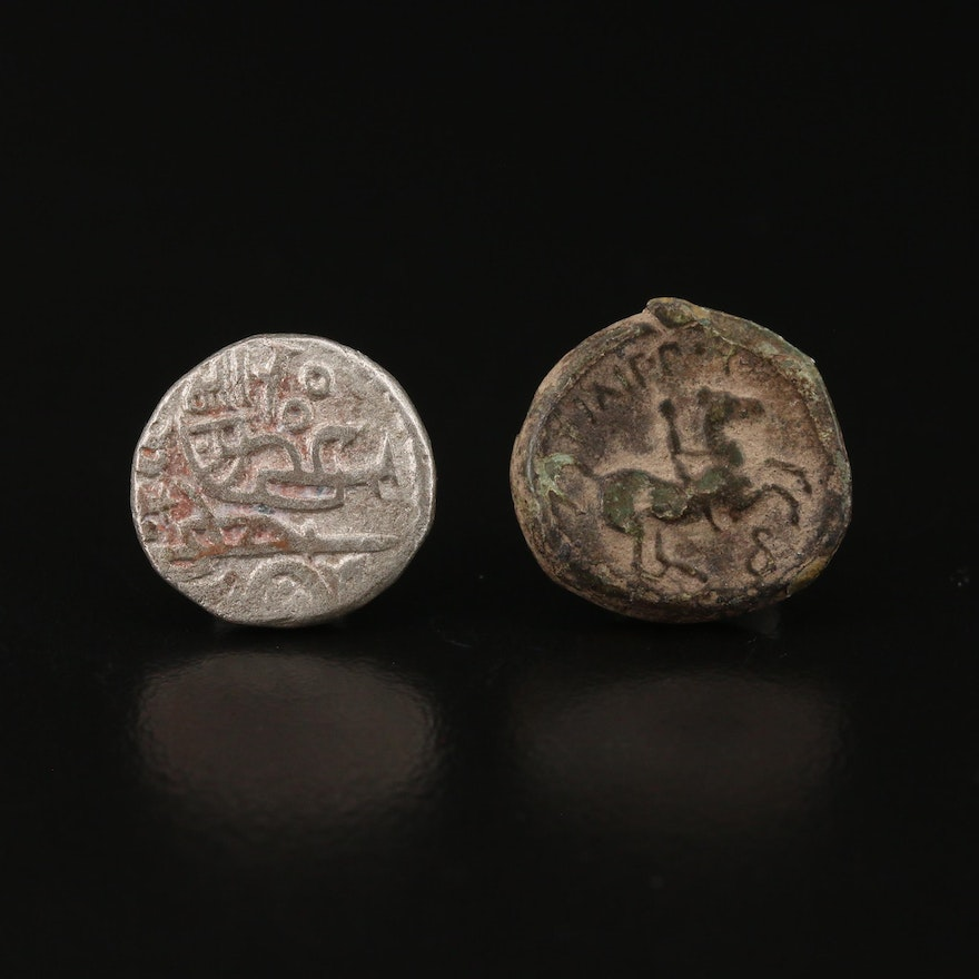 Two Ancient Coins, Greek and Indian