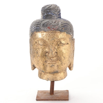 Gilt Stone Head of the Buddha