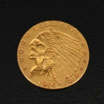Low Mintage 1914 Indian Head $2.50 Gold Quarter Eagle