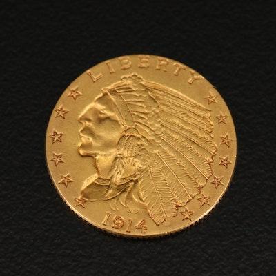 Low Mintage 1914 Indian Head $2.50 Gold Quarter Eagle