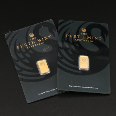 Two 1 Gram .999 Gold Ingots from the Perth Mint