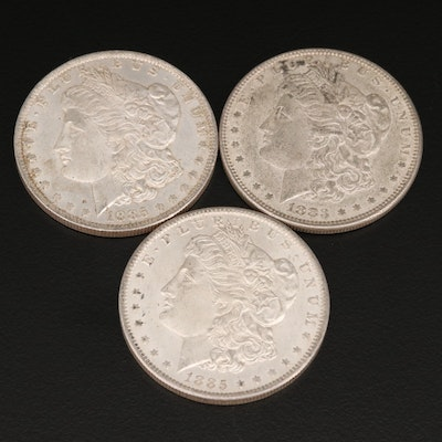 One 1883 and Two 1885-O Morgan Silver Dollars