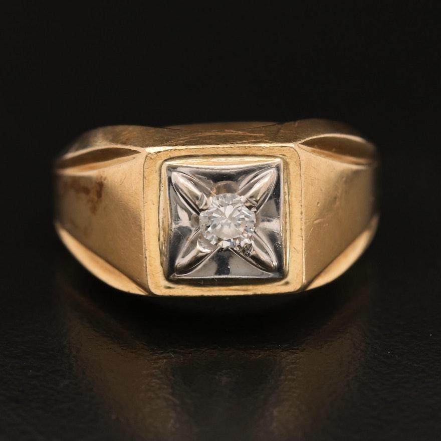 10K 0.18 CT Diamond Solitaire Ring
