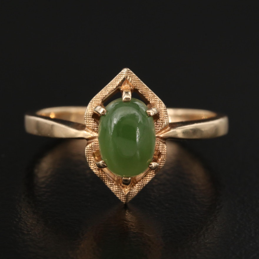 10K Nephrite Ring with Textured Accent