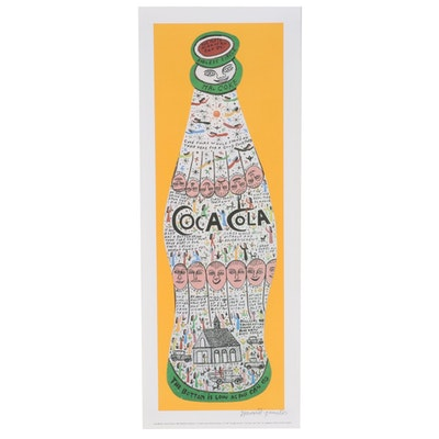 """Howard Finster Offset Lithograph """"Coca Cola,"""" circa 1989"""